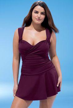 deb3bb1687 Swimdress - Wine Crossover Swimdress Swim Dress, Curvy Swimwear, Plus Size  Swimwear, Swimwear