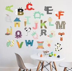 "26 INDIVIDUAL LETTERS - approx 6"" HPerfect for a children's room, nursery, or daycare. Fully removable and reusable wall decals that will brighten and add character to any room. -100% polyester fabric self adhesive vinyl -HP Latex Inks-For best result do not use on textured walls or walls painted with flat paint. -To clean use damp cloth and warm water. All of our products are made to order. We do this to insure that you are getting a brand new wall decal that hasn't been sit..."