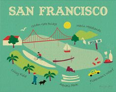 Original Illustration of North Side of  San Francisco-  Art  Poster Print Gift for Home or Office - style O-SF8. \ via Etsy.