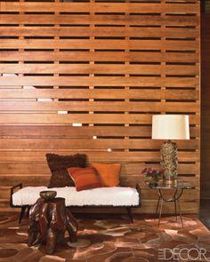 Western red cedar partition (designer Madeline Stuart in Elle Decor)