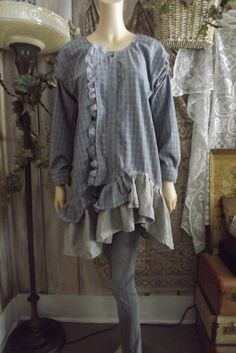 Lagenlook Upcycled Tunic Dress Cotton Linen by Blue Mermaid Designs