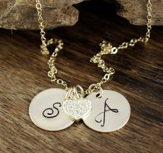 Anniversary Necklace, Gold Initial Heart Necklace, Personalized Necklace, CZ Heart Necklace, Initial Jewelry with Heart, Gift for Wife by AnnieRehJewelry on Etsy Initial Jewelry, Pretty Wallpapers, Hand Stamped Jewelry, Personalized Necklace, Gifts For Wife, Initials, Valentines Day, Gold Necklace, Anniversary