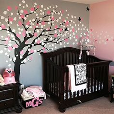 Panda and Cherry Blossom Tree Wall Decal - This nursery wall decal fits perfectly above your crib. Make it the focal point of your living room, family room or baby nursery room! Large Wall Decals, Tree Decals, Wall Decals For Bedroom, Wall Stickers, Nursery Room, Girl Nursery, Kids Bedroom, Nursery Decor, Room Kids