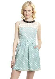 Love polkadot and lace combination with the cut of the dress. ESLEY  Sleeveless Print Dress with Sheer Neck