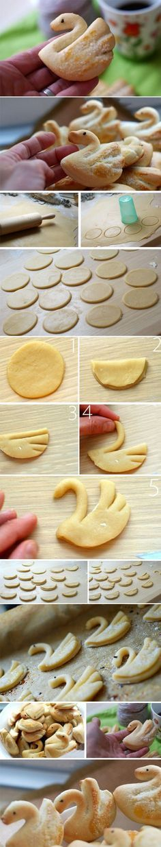 "Make theese lovely swans of a good buttery cookie-dough with pearlsugar sprinkled on top. Complements a cup of Tea, a glas of milk or a mug of coffee. c"",) Enjoy! Baking Recipes, Cookie Recipes, Dessert Recipes, Pastry Dough Recipe, Bread Shaping, Butter Cookies Recipe, Buttery Cookies, Italian Cookies, Shaped Cookie"