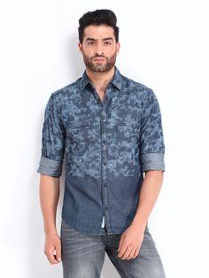 Locomotive denim laser print shirt