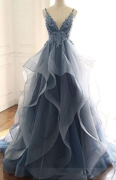 Blue Gray Tulle V Neck Long Ruffles Prom Dress, Lace Evening Dress from Sweethea. - Blue Gray Tulle V Neck Long Ruffles Prom Dress, Lace Evening Dress from Sweetheart Dress- Source by annikaephotos - Pretty Prom Dresses, Lace Evening Dresses, Elegant Dresses, Homecoming Dresses, Beautiful Dresses, Lace Dress, Tulle Lace, Sexy Dresses, Summer Dresses