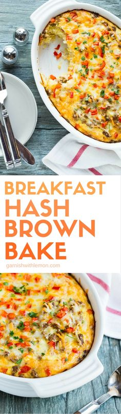 Need an easy breakfast for a crowd? This naturally gluten-free Breakfast Hash Brown Bake comes together in minutes and will be ready to eat 30 minutes later. (Gluten Free Recipes For A Crowd) Breakfast For A Crowd, Breakfast Hash, Food For A Crowd, Breakfast Dishes, Breakfast Time, Breakfast Casserole, Breakfast Recipes, Breakfast Ideas, Egg Casserole