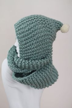 Green Hand Knit Wool Snood
