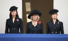 The Duchess of Cambridge, the Duchess of Cornwall and Countess of Wessex on the Foreign Office balcony at the service.