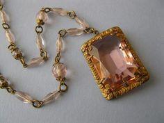 Vintage 1930's Art Nouveau Deco Rose Pastel Pink Glass Pendant Necklace   eBay
