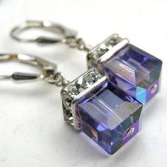Tanzanite Purple Earrings Violet Swarovski Crystal door fineheart, $28.00