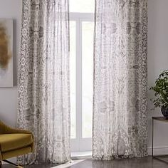 Sheer Cotton Painted Ombre Curtains (Set of 2) - Dusty Blush