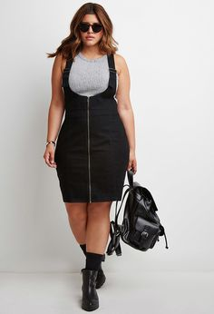 Plus Size Zipped Denim Overall Dress