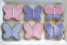 Butterfly cookie - pink and purple