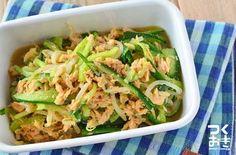 きゅうりともやし、ツナを合わせた簡単常備菜。暑い季節にさっぱちいただきたい一品です。