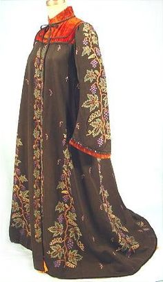 c. 1890 Museum Quality Tambour Embroidery Wool Robe (black wool w/ rust velvet yoke & cuffs) - selling $ 1,250