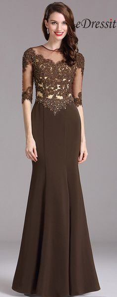eDressit Carlyna Brown Beaded Mother of the Bride Dress with Illusion neckline