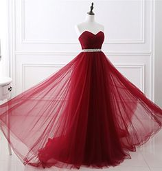 Amazon.com: Dressylady Charming Sweetheart Beading Pleated Tulle A Line Long Prom Dress: Clothing