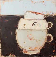 View 'A Good Chat with Friends' By Anji Allen; 35 x 35 cm; Access more artwork lots and estimated & realized auction prices on MutualArt. Artistic Photography, Art Photography, Cup Art, Still Life Art, Naive Art, Art Plastique, Painting Inspiration, Book Art, Art Drawings