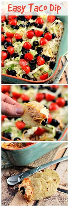 Easy Taco Dip Recipe ~ Everyone Will Dig Into this Festive Taco Dip! Loaded with Sour Cream, Taco Seasoning, Salsa, Cheese, Lettuce, Tomatoes & Black Olives!