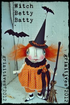Primitive Halloween Art Doll Witch BETTY by GRIMITIVES on Etsy