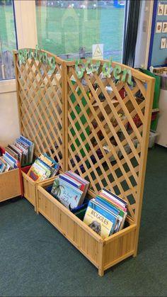 Reading Garden Book Storage - Everything About Kindergarten Reggio Classroom, Classroom Organisation, Outdoor Classroom, New Classroom, Classroom Setting, Classroom Design, Classroom Displays, Kindergarten Classroom, Garden Theme Classroom