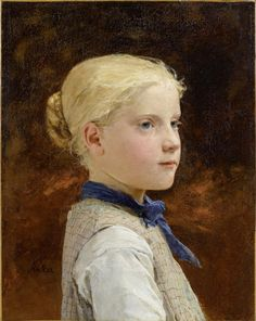 "https://flic.kr/p/cUMWU3 | Albert Anker 'Portrait of a girl' 1899 | Albert Samuel Anker  [Swiss painter 1831-1910]  Ancher been called the ""national painter"" of Switzerland because of his enduringly popular depictions of 19th-century Swiss village life. Biography: da.wikipedia.org/wiki/Michael_Ancher  Oil on canvas"