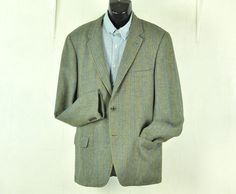 Mens Tweed Blazer Jacket 42L Long Tall Blue & Green Vertical Stripes #MidCenturyclothing #Menswear Fashion by ArmorOfModernMen on Etsy