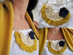 Made to Order  Crocheted lace necklace  bib necklace   by sewella