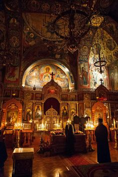"""""""The only light was candlelight. Orthodox Prayers, Orthodox Christianity, Faith Of Our Fathers, Orthodox Easter, Sacred Architecture, Church Interior, Russian Orthodox, World Religions, Faith In Love"""