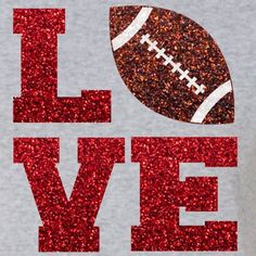 Glitter Football LOVE Iron On  LOVE Football by IHeartHoundstooth …