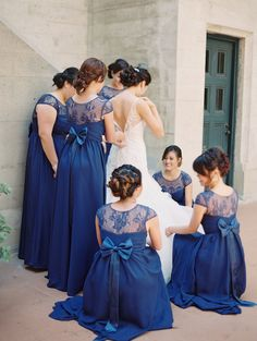 Gorgeous Full Length Navy Blue Bridesmaids Dresses With A Touch Of Lace And Bow Wedding In Downtown Los Angeles At The First Congregational Church