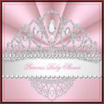 Princess Pink White Pearls Diamond Tiara Baby shower girl All Occasions Fabulous Elegant Events for Women, Girls, Party Invites for all ages, just customize to the age you want! Affordable, Cheap but classy! Zizzago created this design PLEASE NOTE all images are NOT Silk Diamonds Jewels or real Bows!!