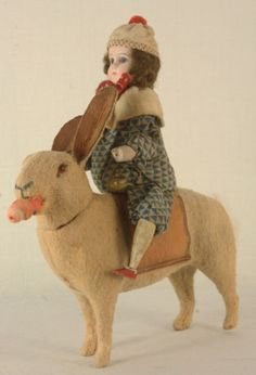 Antique German Easter Bisque Head Doll Riding Rabbit Candy Container C1910 | eBay