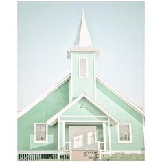 Pastel Wall Decor, Spring, Mint, Church Photograph, 8x10 ($30) via Polyvore