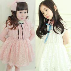 2013 summer korean children lace bow lapel short-sleeved dress child children baby girls 6243 only $11.84USD a Piece