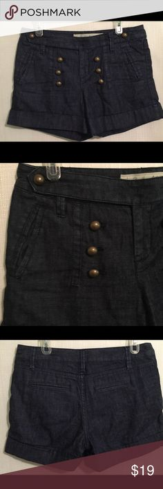 Daughters of liberation steadfast sailor shorts Great pair of shorts from Daughters of the Liberation Anthropologie Brand! They are called Steadfast Sailor  Size 4 (please pay attention to my measurements to see if they will work for you) Features the sailor design with double breasted brass looking buttons up both sides and same buttons on the waistband. They have a zipper closure with top button Two side pockets Cuffs at the hem  Waist (laying flat):  16.5 inches Hips (laying flat):  20…