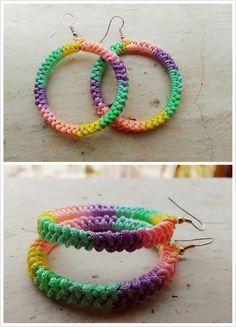 Colorful crochet earrings