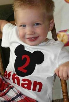 Boys Mickey Inspired Birthday Shirt by littlepetuniadesigns, $20.00