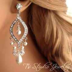 Pearl Chandelier Bridal Earrings  Ivory Pearl Wedding by TZTUDIO, $45.00