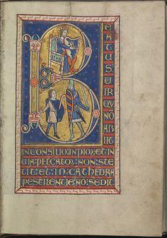 Psalm 1,Beatus vir qui non abiit in consilio inpiorum et in via peccatorum non stetit et in cathedra pestilentie non sedit,King David plays harp, David, Goliath - Psalter of Eleanor of Aquitaine (ca. 1185)-KB 76 F 13,folium 029r.