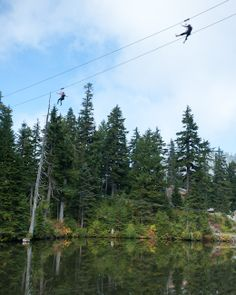 Ziplining over Blue Grouse Lake on a beautiful spring day.  Only at Grouse Mountain, Vancouver.