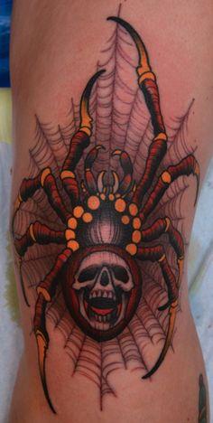 Very artistic spider tattoo.