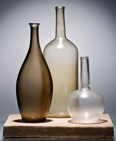 Interior Design: glass as art design: tapio wirkkala and other artists - Alla Morandi, limited edition glass collection for Venini, 2012 Bottles And Jars, Glass Bottles, Murano Glass, Glass Ceramic, Glass Collection, Bottle Art, Still Life Photography, Oeuvre D'art, Chiaroscuro