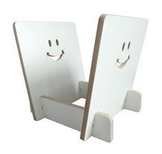 White Plywood vinyl record storage rack, smiley face design