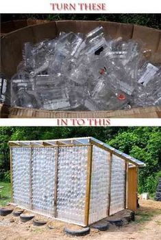 Build A Greenhouse From Plastic Bottles - this is cool!or hot, I should say. Build a greenhouse f Outdoor Projects, Garden Projects, Garden Tools, Art Projects, Build A Greenhouse, Greenhouse Ideas, Simple Greenhouse, Large Greenhouse, Portable Greenhouse