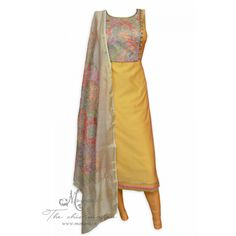 Appealing mustard semi stitched suit accentuated with cross-stitch at neckline-Mohan's the chic window Salwar Pattern, Kurti Patterns, Indian Party Wear, Indian Wear, Pakistani Outfits, Indian Outfits, Ethnic Fashion, Indian Fashion, Ethnic Trends