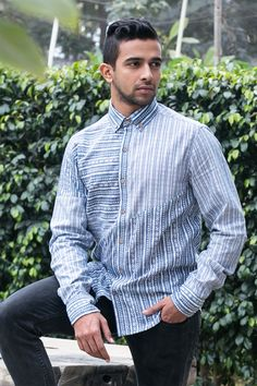 UFF Light Blue Cotton Printed Casual Shirt