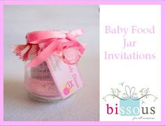 Baby food jars as invitations for a baby shower.
